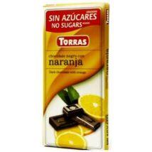 Narancsos étcsokoládé maltitollal 75g TORRAS